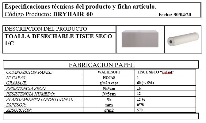 ficha técnica de producto DRYHAIR-60